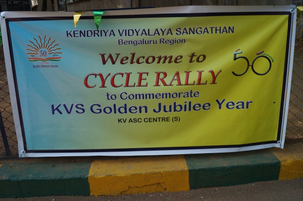 Cycle Rally Banner in Campus