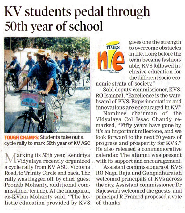 Cycle Rally covered in Times of India