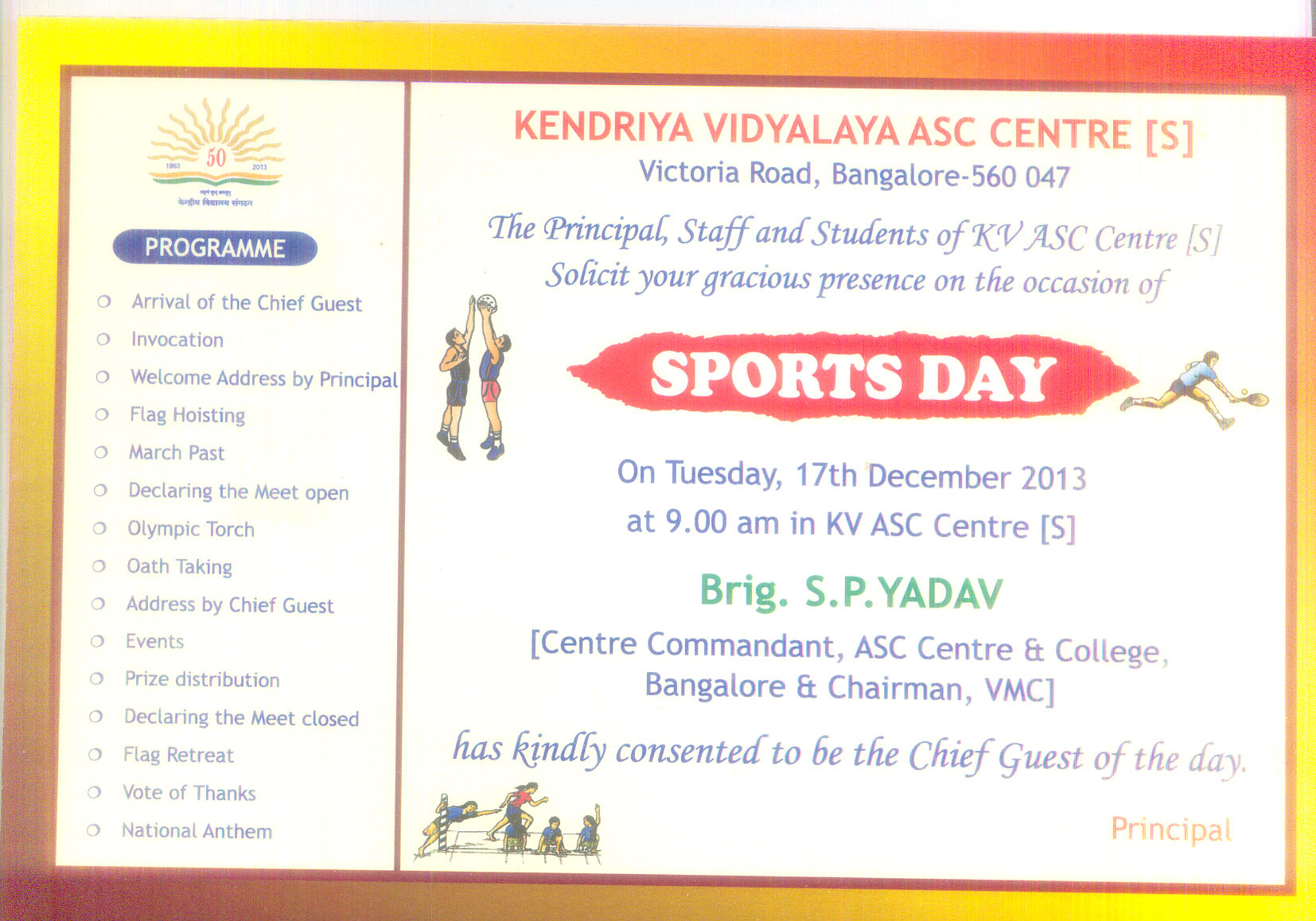 Sports day at kv asc center s bangalore on the 17th of dec 2013 the principal staff students of kv asc center s bangalore solicit your gracious presence on the occasion of sports day on the 17th of december 2013 stopboris Images