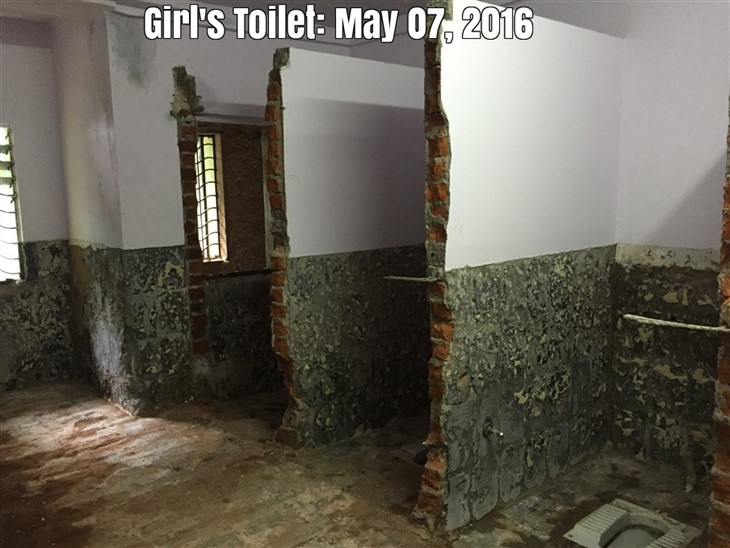 The process of breaking down the existing toilet has begun