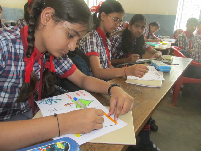 A closer look at the students drawing during the drawing competition